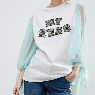 Asos Mesh Sleeves White Tshirt Glitter Slogan
