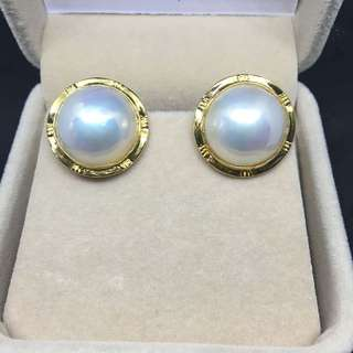 Exceptional Lustre!! South sea mabe pearl earrings