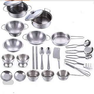 25pcs Cooking Toys stainless steel Cookware Dinnerware Kitchen appliances Cutlery Spoon Bowls Toy set