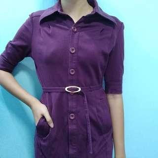 Purple button down Dress