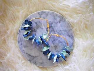 Blue Mix Caroline Floral Hoop Earrings