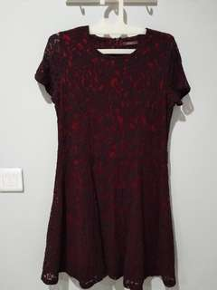 PRELOVED eprise red lace party dress
