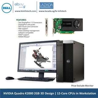 🚚 Dell Precision T5600 workstation 2x Six-Core Xeon E5-2630L#2.0Ghz 16GB DDR3 1TB SATA HDD Nvidia K2000 2GB DDR5 3D Design Graphics Win 10 Pro Warranty