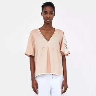 Foreign trade women's 18 summer art Van Lace stitching sleeve linen blouse V-neck soft top
