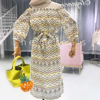 TC2347 Korea Bohemian Shoulder Off Belted Dress (Yellow,Pink)