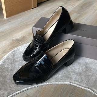 🚚 韓國🇰🇷 全新 復古風 英倫風 粗跟高跟學院風 百搭學生休閒皮鞋