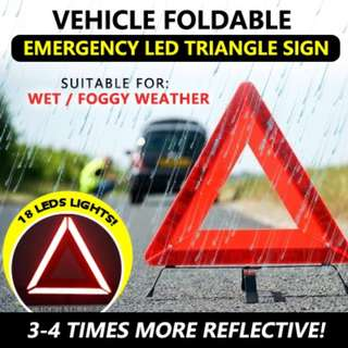 Safety Vehicle Foldable Emergency LED Triangle Sign - 18 LED LIGHT