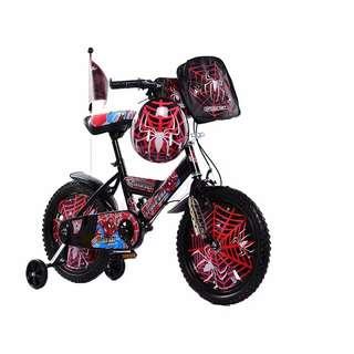 Kids bike spiderman red colour boys
