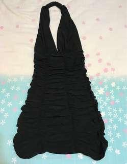 Black backless ruffles dress / little black backless party dress