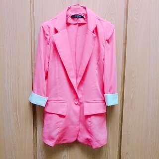 🚚 粉紅雪紡西裝外套