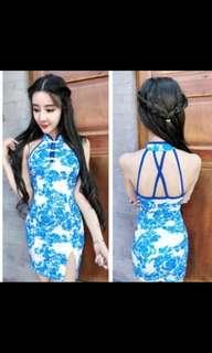 Blue Porcelain Qi Pao 旗袍