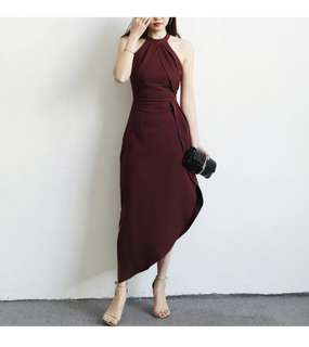Maroon Midi Dress with slant edge