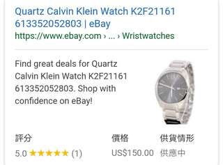 Quartz Calvin Klein Watch K2F21161   CK 手錶