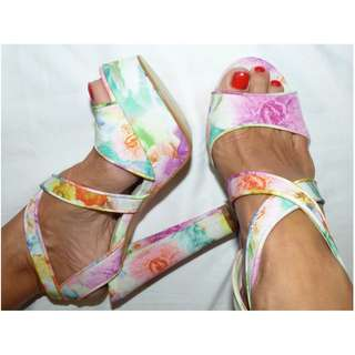 BETTS NEW FLORAL PASTEL PLATFORMS 8 strappy HEEL pastel SHOE pump