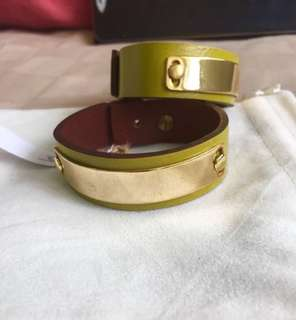 Brand new real leather gold plated lime bangle bracelet
