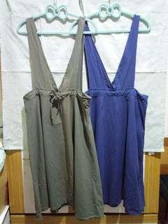 綁帶吊帶裙 軍綠款