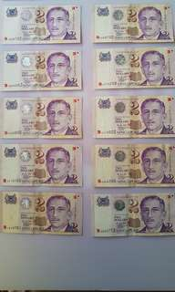 Singapore 2000 $2 notes portrait