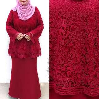 LAST SET Instock M - L Crochet Lace kurung