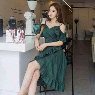 Korean Fashion Green Long Dress