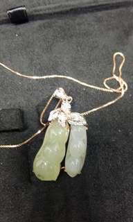 天然冰種緬甸翡翠玫瑰金鑲鑽石