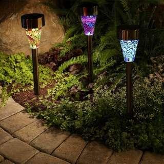 6 pcs Solar Mosaic Garden Light LED Lamp for Outdoor Lawn Landscape Lighting