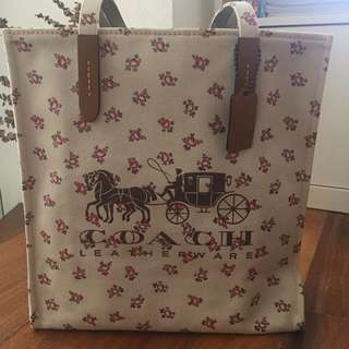 New Coach Tote Bag with Logo and Floral Print