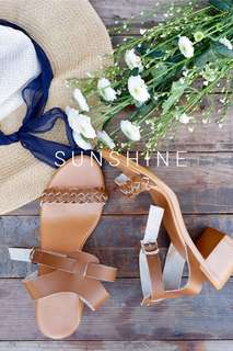 Sunshine in white and brown mid heel