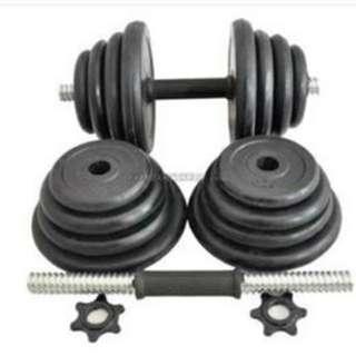 Black Rubber Dumbbell Set 20kg