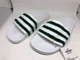 Adidas Green & White Terry Cloth Adilette Slides Slippers UK5