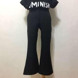 🚚 全新,修身顯瘦超好搭高腰純色西裝布喇叭褲,九分褲,S,小M