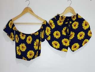 Off-Shoulder Sunflower Terno