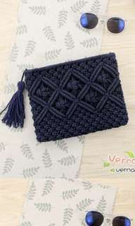 Weaved Clutch in Navy Blue