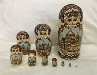 10 pcs in a set of Russian hand painted wooden matryoshka dolls
