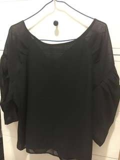 SLY 雪紡黑色泡泡袖上衣