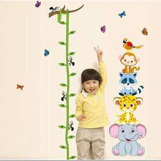 85X178cm animal Height Measurement Chart wall decal sticker