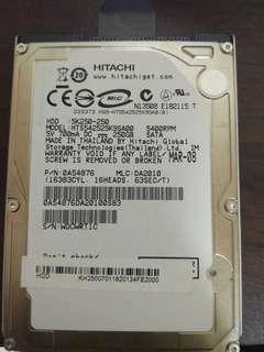 250gb 2.5吋內接硬碟 hitachi