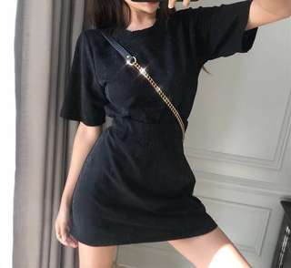 Preorder bling bling short-sleeved top + high waist A line skirt one set