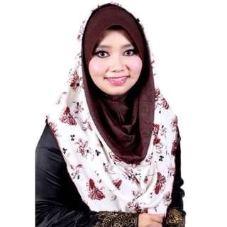 Tudung Instant Hoodie Rasheeda Cotton Awning Keras Keluaran Terhad Coklat - E46