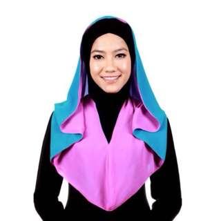 Tudung Hoodie Azeeza Double Sided Chiffon Eksklusif Blue / Pink - A36