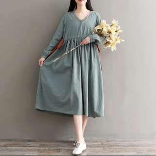 M-2XL Long Sleeve with Side Ribbon Slim Look Design Long Dress