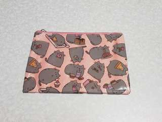 Pusheen pouch / make up bag / stationery case / wristlet  / cosmetic pouch (with pink glitter)