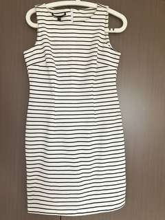 Strip black and white dress