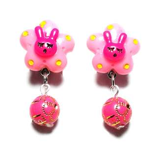 Kids Earrings - Handmade Korean Style Pink Flower Bunny Bead Dropping Dangling Resin Pain Relief Safety Earring Clip For Kids