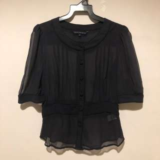 French connection black sheer blouse