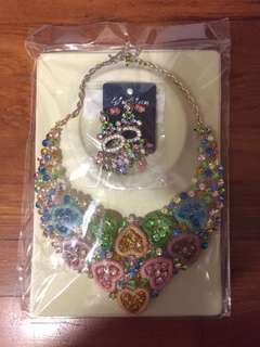 Colourful costume jewellery set