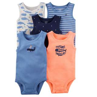 BN 6m/9m Carters 5pcs Tank-Top Bodysuits Whale