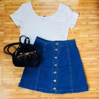 H&M crop top and Denim skirt bundle