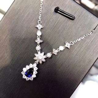 18k藍寶石鑽石頸鏈(得1條)