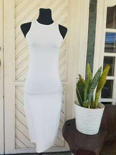 F21 Long White Bodycon Dress