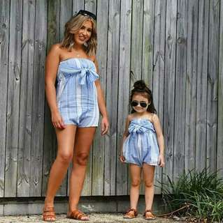 🍀Family Matching Mother Daughter Sleeveless Striped Romper 2pcs Set🍀